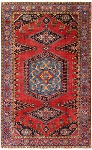 Hand Knotted Viss Rug Tribal Wool Red Blue Oriental Carpet 7 1 X 10 5