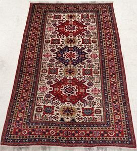 Hand Knotted Ardebil Rug Tribal Wool Ivory Red Oriental Carpet 4 6 X 7 2
