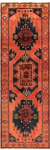 Hand Knotted Koliai Oriental Rug Tribal Wool Coral Navy Runner 4 9 X 13 7