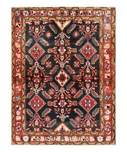 Koliai Rug Tribal Hand Knotted Wool Navy Red Oriental Carpet 3 9 X 4 8