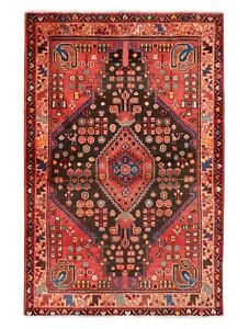 Hand Knotted Jozan Tribal Oriental Rug Wool Brown Coral Carpet 3 5 X 4 11