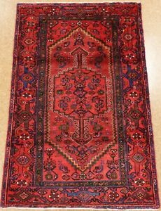 Hand Knotted Tribal Oriental Rug Zanjan Wool Red Blue Carpet 4 3 X 6 7