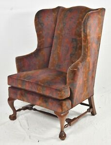 Baker Mahogany Chippendale Style Wing Chair Arm Chair Claw And Ball Feet
