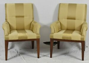 Pair Of Baker Furniture Arm Chairs Club Chairs With Gold Silk Stripped Fabric