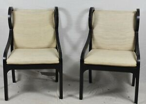 Pair Of Baker Ebonized Arm Chairs Club Chairs Mid Century Modern