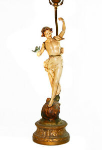 Antique Victorian French Art Nouveau Painted Spelter Figural Post Table Lamp
