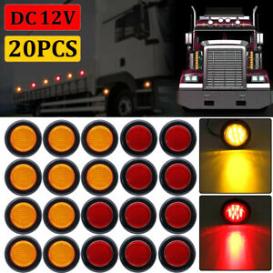 20x 2 Inch Round Red Amber Side Marker Clearance 10 Led Trailer Truck Lights