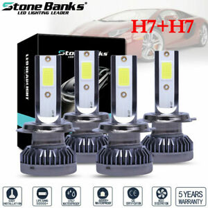4pcs Mini H7 H7 Combo Led Headlight Bulbs High Low Beam 240w 52000lm 6000k Kit