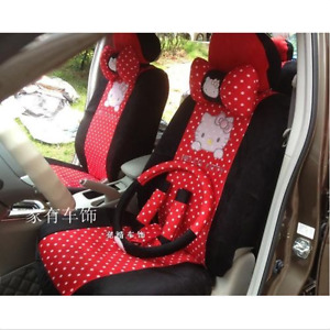 2020 New Cute 10 Pcs Hello Kitty Universal Polka Dot Car Seat Covers