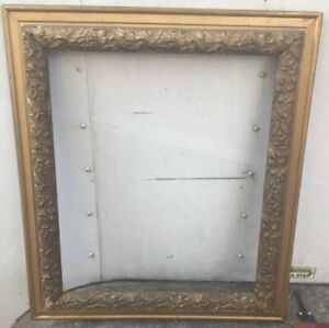 Antique Picture Mirror Frame Wood Gesso Recoco Gold Gilded 19 X 23