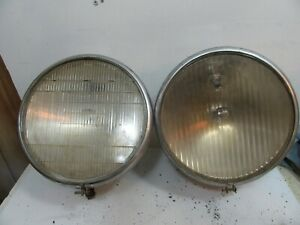 2 1930 Buick Headlight Buckets With Lens Twilite Headlamp