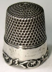 Antique Simons Brothers Sterling Silver Thimble Louis Xv Rim C1920s