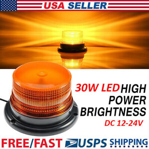 30 Led Amber Yellow 30w Emergency Warning Flashing Safety Strobe Beacon Light Us