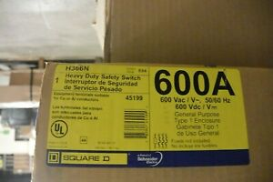 Square D H366n 600 Amp 600v 3p 4w Fusible Disconnect Switch New In Box