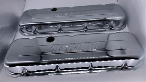 Big Block Chevy Chrome Short style Steel Valve Covers With Merlin Logo