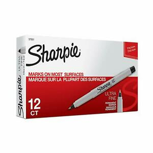 Sharpie Permanent Markers Ultra Fine Point Black 12 Count