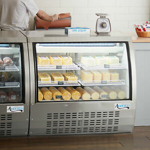 47 Silver Floor Model Refrigerated Deli Seafood Bakery Meat Pastry Display Case