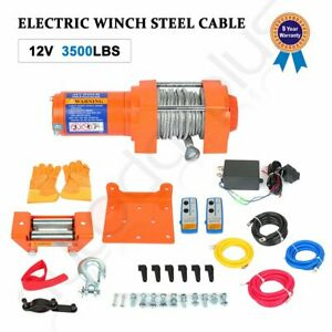 12v 3500lbs Electric Winch Towing Trailer Steel Cable Off Road W Wireless Remote