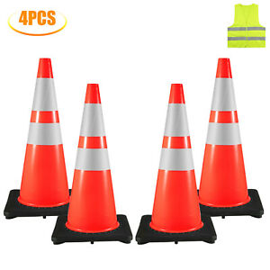 4x Traffic Safety Cones 28 Warning Roads Construction Sites 16 x16 Rubber Base