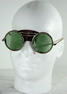 Vintage Welding Glasses Goggles Steampunk Round Green Lens 1 7 H