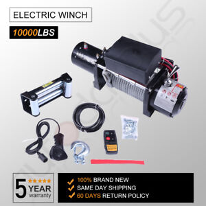 10000 Lb Electric Recovery Winch 80 Steel Rope 12v 4wd Offroad Trailer Suv