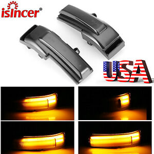 2pcs Dynamic Turn Signal Lights Smoked Led Side Mirror For Ford F 150 2015 2018