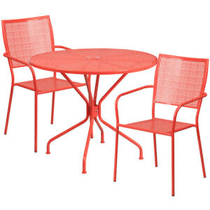 35 25 Round Coral Indoor outdoor Patio Restaurant Table Set With 2 Metal Chair