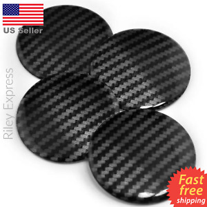 4 Pack Resin Carbon Fiber Stripe Wheel Center Cap Sticker Emblem Decal Dome