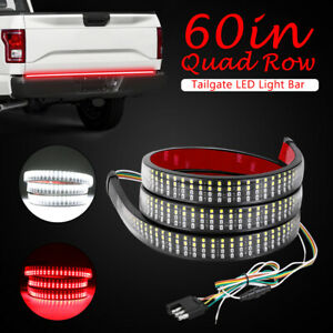 60 Led Strip Tailgate Bar Quad Row Running Brake Reverse Signal Light Truck Suv