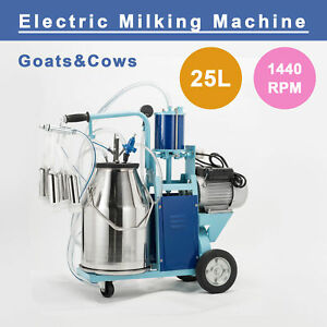 25l Electric Milking Machine For Goats Cows W bucket Sheep Piston 1440rpmvacuum