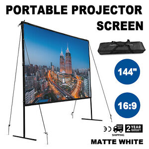 144 Iron Fixed Frame 16 9 Projector Screen Pvc Matte White Home Theater Us