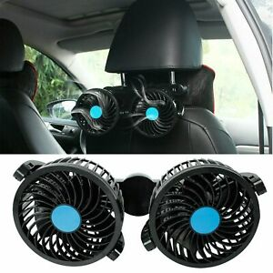 12v Dual Head Vehicle Car Headrest Rear Seat Cooling Fan 360 Rotatable 2 Speed