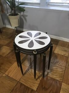 Vintage Mid Century 3 Stacking Cocktail Wood Formica Nesting Tables Mcm
