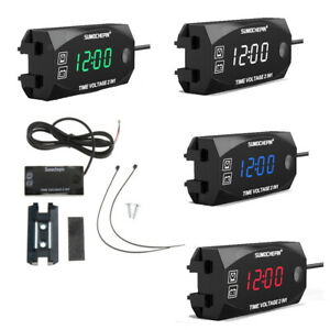2 In1 Motorcycle Digital Led Voltmeter Clock Temperature Voltage Thermometer