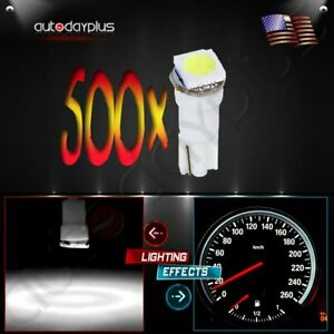 500x T5 Wedge 1 5050smd Instrument Gauge Dash Led Light Bulbs White For Cadillac