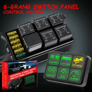 6 gang Switch Panel Relay Circuit Control System For Car Led Work Light Bar Pods