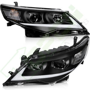 For 2012 2014 Toyota Camry Headlights Assembly Front Headlamp Drl Led Black