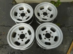 15 X 7 Old School Vintage Slotted Slot Alloy Mag Wheels 6x5 5 4x4 Chevy