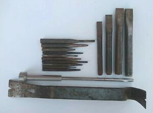 Craftsman Flat Pry Bar Steel Nail Puller Crowbar C591 Punches Chisels Lot