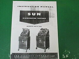 Copy Black White Instructions Manual Sun Distributor Testers Models 400 500
