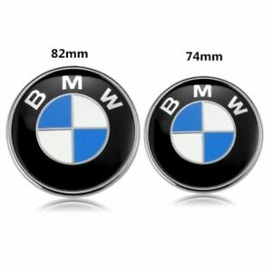 2pcs Front Hood Rear Trunk 82mm 74mm Original Bmw Badge Emblem