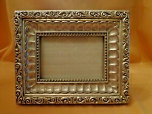 Vtg Silver Picture Frame 3 5x5 Photo Carved Heavy Ornate Gilt Victorian Style