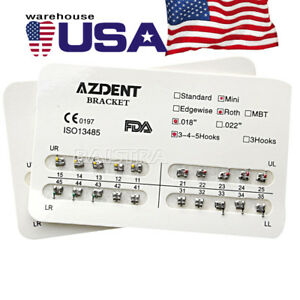 Azdent 35kits Dental Orthodontic Brackets Bracket Brace Mini Roth 018 Hook 3 4 5