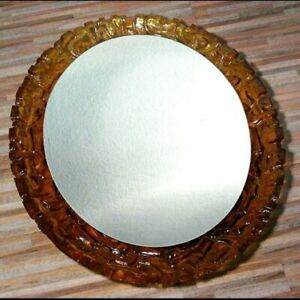 Huge Oval Mirror Rimmed With Amber Lucite Glas 60s Austrian Italian Era