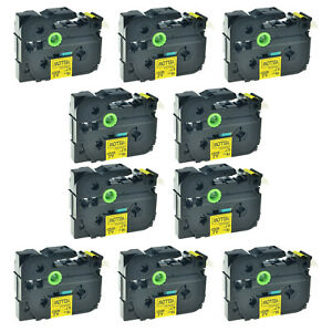 10 Pk Tz 641 Tze 641 3 4 Black On Yellow Label Tape For Brother P touch Pt2200