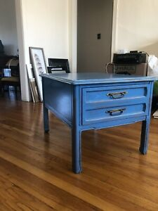 Small Dresser Side Table Bassett Furniture Industries Inc Blue Distressed Paint