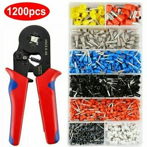 Electrical Wire Terminal Kit Cutter Stripper Plier Crimper 1200pcs Connectors