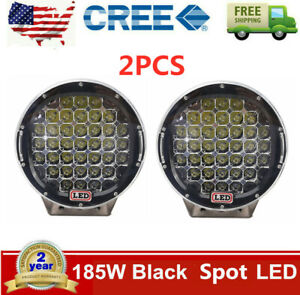 2x 9 inch Led Work Lights 185w Off Road Backup Driving Black 4x4wd Spot Round
