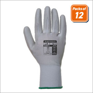 Portwest A120 Pack Handling Work Safety Glove With Protective Pu Palm Grip Gray