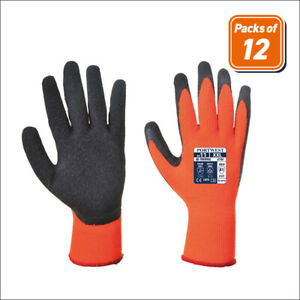Portwest A140 Packs Of Thermal Grip Cold Weather Work Gloves Ansi Cut A1 Orange